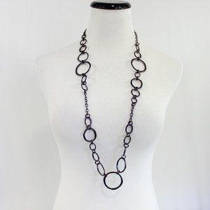 Lia Sophia Long Chain Necklace Dark Brown Color